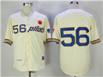 1969 Seattle Pilots #56 Jim Bouton Throwback Cream Jersey