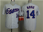 Montreal Expos #14 Pete Rose White Pinstripe Throwback Jersey