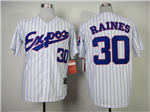 Montreal Expos #30 Tim Raines White Pinstripe Throwback Jersey