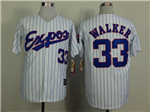 Montreal Expos #33 Larry Walker White Pinstripe Throwback Jersey