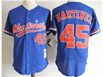 Montreal Expos #45 Pedro Martínez Blue Cooperstown Collection Mesh Batting Practice Jersey