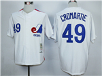 Montreal Expos #49 Warren Cromartie White Throwback Jersey