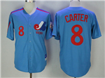 Montreal Expos #8 Gary Carter Blue Throwback Jersey