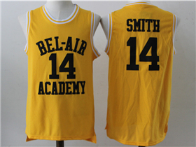 The Fresh Prince of Bel-Air Bel-Air Academy #14 Will Smith Yellow Movie Basketball Jersey