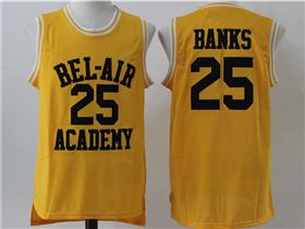 The Fresh Prince of Bel-Air Bel-Air Academy #25 Carlton Banks Yellow Movie Basketball Jersey