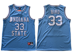 Indiana State Sycamores #33 Larry Bird Light Blue College Basketball Jersey