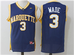 Marquette Golden Eagles #3 Dwyane Wade Navy College Basketball Jersey
