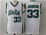 Michigan State Spartans #33 Magic Johnson White College Basketball Jersey
