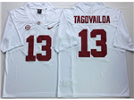 Alabama Crimson Tide #13 Tua Tagovailoa White College Football Jersey
