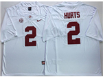 Alabama Crimson Tide #2 Jalen Hurts White College Football Jersey