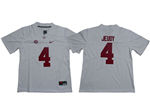 Alabama Crimson Tide #4 Jerry Jeudy White College Football Jersey