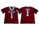 Oklahoma Sooners #1 Jalen Hurts Red 47 Game Winning Streak College Football Jersey