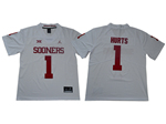 Oklahoma Sooners #1 Jalen Hurts White College Football Jersey