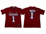 Oklahoma Sooners #1 Jalen Hurts Youth Red College Football Jersey
