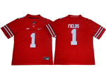 Ohio State Buckeyes #1 Justin Fields Red College Football Jersey