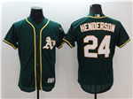 Oakland Athletics #24 Rickey Henderson Green Flex Base Jersey