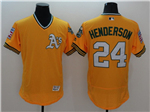 Oakland Athletics #24 Rickey Henderson Gold Cooperstown Flex Base Jersey