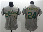 Oakland Athletics #24 Rickey Henderson Gray Flex Base Jersey