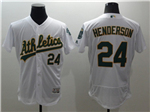 Oakland Athletics #24 Rickey Henderson White Flex Base Jersey