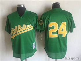 Oakland Athletics #24 Rickey Henderson 1998 Throwback Green Cooperstown Mesh Batting Practice Jersey