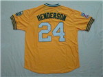 Oakland Athletics #24 Rickey Henderson Throwback Gold Jersey