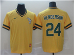 Oakland Athletics #24 Rickey Henderson Cooperstown Throwback Yellow Jersey
