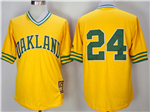 Oakland Athletics #24 Rickey Henderson Gold Turn Back The Clock Copperstown Collection Jersey