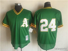 Oakland Athletics #24 Rickey Henderson 1991 Throwback Green Cooperstown Mesh Batting Practice Jersey