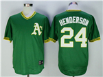 Oakland Athletics #24 Rickey Henderson Throwback Green Jersey