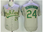 Oakland Athletics #24 Rickey Henderson Throwback Gray Jersey