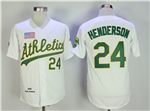 Oakland Athletics #24 Rickey Henderson Throwback White Jersey