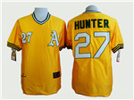 Oakland Athletics #27 Catfish Hunter Throwback Gold Jersey