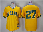Oakland Athletics #27 Catfish Hunter Gold Turn Back The Clock Copperstown Collection Jersey