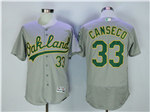 Oakland Athletics #33 Jose Canseco Gray Flex Base Jersey