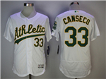 Oakland Athletics #33 Jose Canseco White Flex Base Jersey