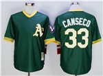 Oakland Athletics #33 Jose Canseco Throwback Green Jersey