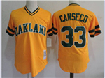 Oakland Athletics #33 Jose Canseco Throwback Gold Jersey