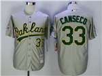 Oakland Athletics #33 Jose Canseco Throwback Gray Jersey