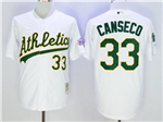 Oakland Athletics #33 Jose Canseco Throwback White Jersey