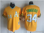 Oakland Athletics #34 Rollie Fingers 1972 Throwback Gold Jersey