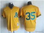 Oakland Athletics #35 Rickey Henderson Throwback Yellow Cooperstown Mesh Batting Practice Jersey