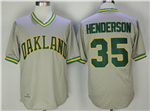 Oakland Athletics #35 Rickey Henderson Gray Throwback Jersey