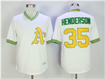 Oakland Athletics #35 Rickey Henderson 1979 Throwback White Jersey