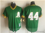 Oakland Athletics #44 Reggie Jackson Throwback Green Cooperstown Mesh Batting Practice Jersey