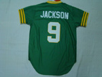 Oakland Athletics #9 Reggie Jackson 1974 Throwback Green Jersey