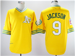 Oakland Athletics #9 Reggie Jackson 1972 Throwback Gold Jersey