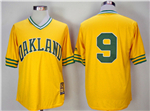 Oakland Athletics #9 Reggie Jackson Gold Turn Back The Clock Copperstown Collection Jersey