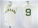 Oakland Athletics #9 Reggie Jackson 1968 Cream Throwback Sleeveless Jersey