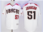 Arizona Diamondbacks #51 Randy Johnson White/Brick Flex Base Jersey