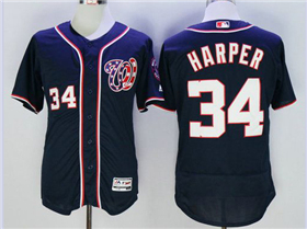 Washington Nationals #34 Bryce Harper Navy Blue Flex Base Jersey